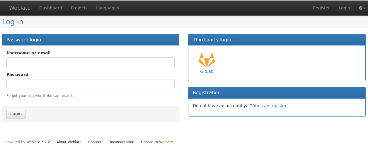 Weblate's login form with GitLab login on the right